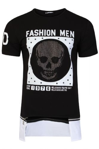 Mens Italian DG Designer Skull Diamante Long T Shirt Slim Fit Crew Neck RRP £30